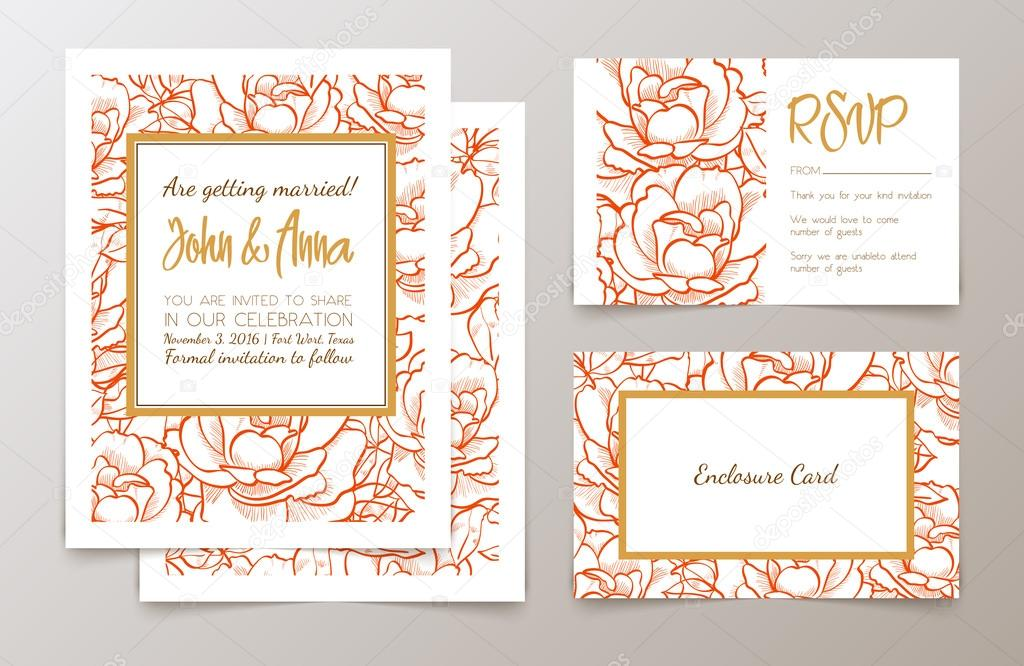 Set  weddings  invitation