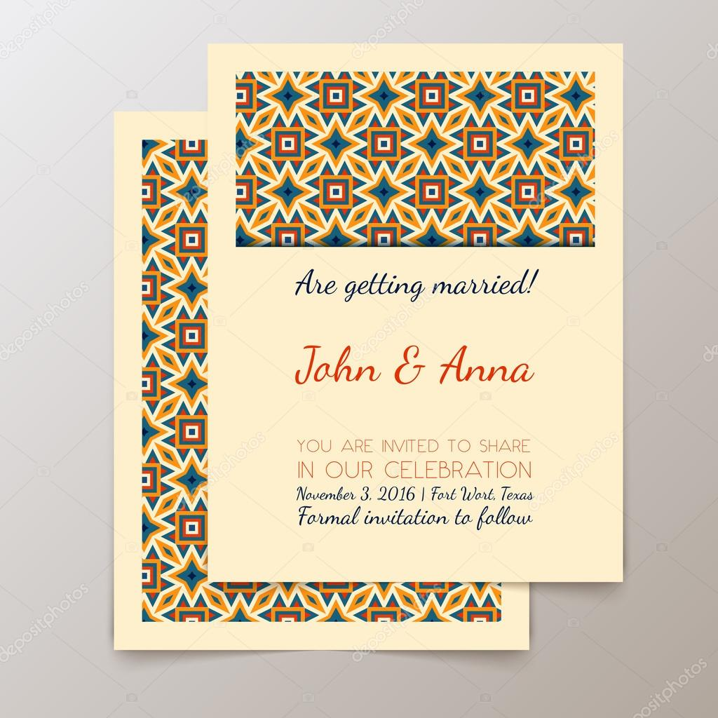 Carto de convite de casamento com geomtrico vintage vetores de wedding invitation card with geometric vintage save the date card seamless pattern can be used for wallpaper web page background surface textures stopboris Choice Image