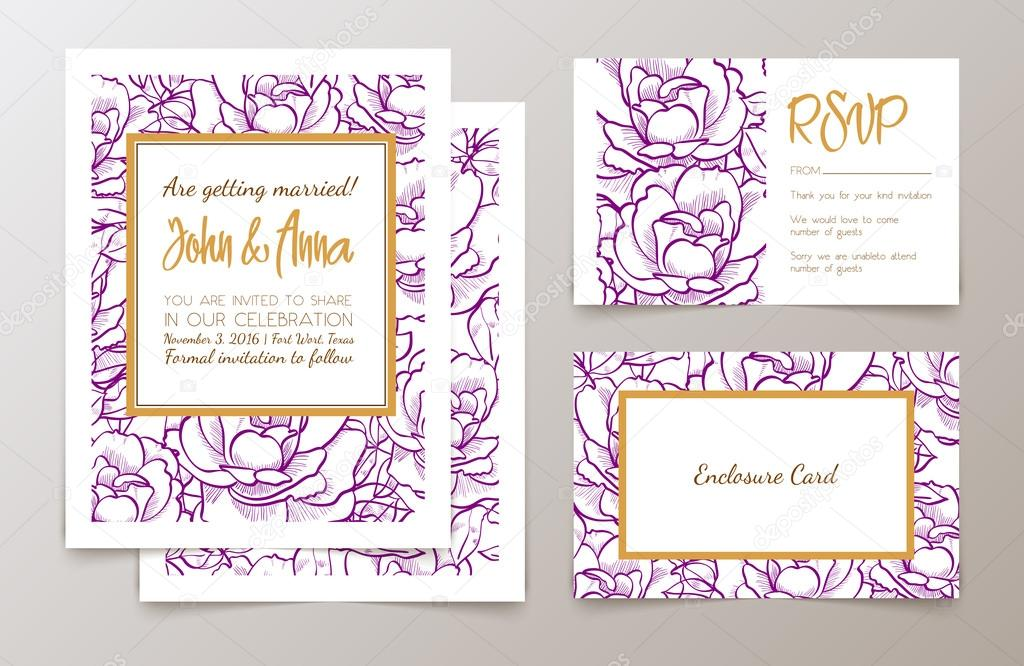 Um conjunto do office fornece para convite de casamentos vetores a set of office supplies for weddings and bachelorette party invitation thank you cards rsvp in classic vintage style roses drawn in ink and gold stopboris Gallery