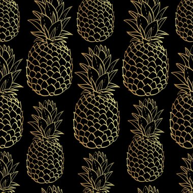Exotic seamless pattern with silhouettes tropical fruit gold pineapples. Food hand drawn repeating background. Abstract print texture. Cloth art design clip art vector