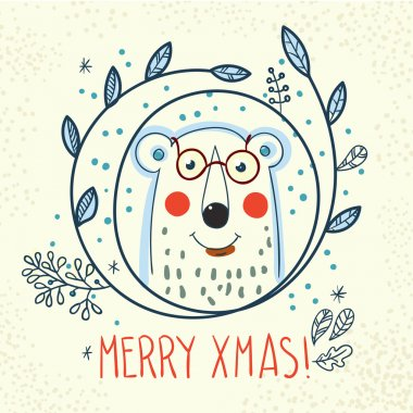 Polar Bear hipster inside a wreath of hand drawn