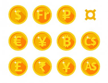 Icons of the world of money and currency symbol