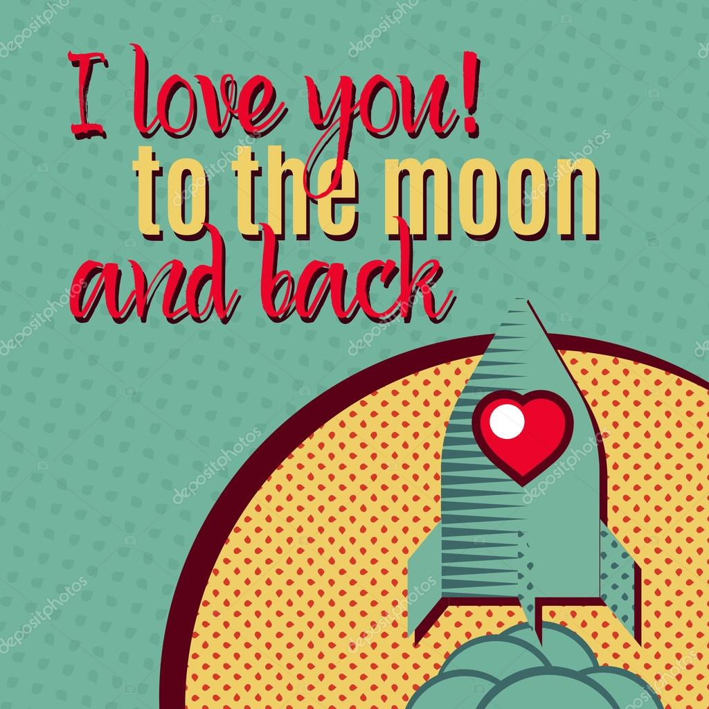 Romantic card with lovely Rocket, moon.