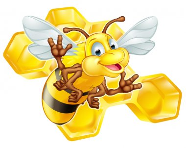 Cartoon cute bee with honeycomb