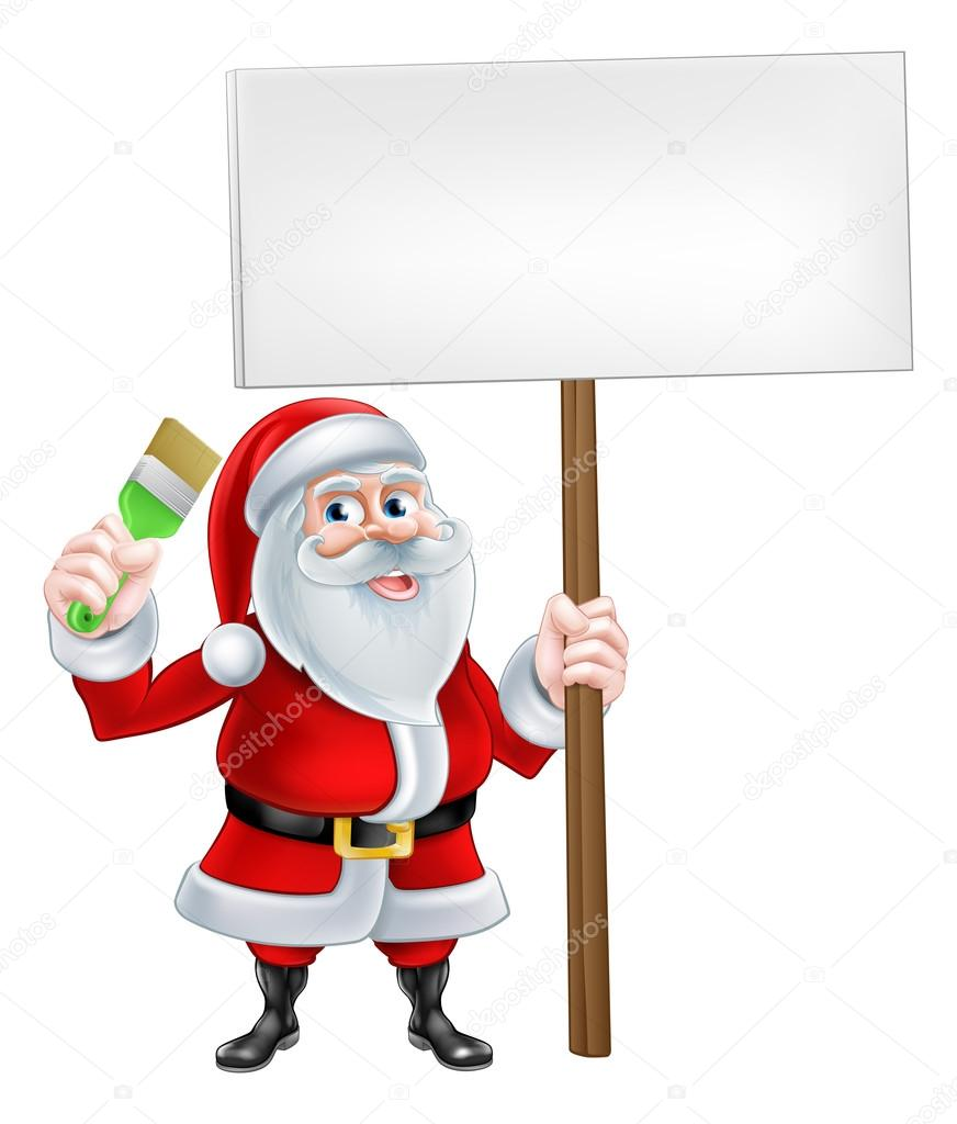 Cartoon Santa Holding Sign and Brush