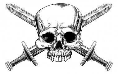 Skull and Cross Swords Woodcut