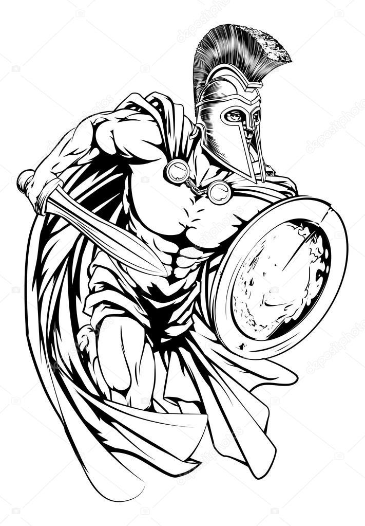 Line Drawing Photos : Sparťanský válečník charakter — stock vektor krisdog