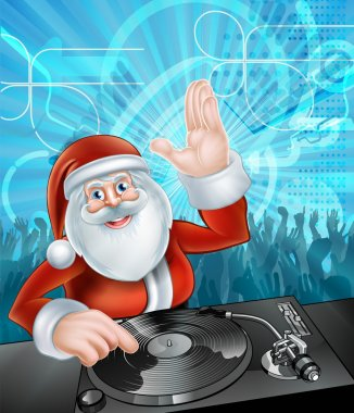 Cartoon Santa Christmas Party DJ