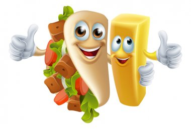Cartoon kebab and chip fries mascots arm in arm clip art vector