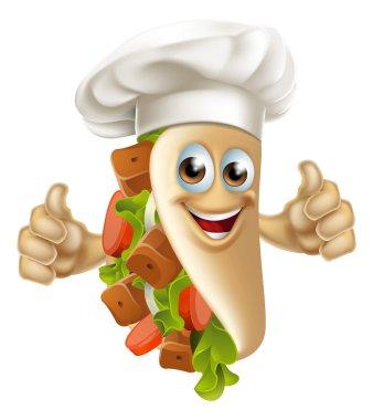 A cartoon souvlaki kebab chef character mascot man clip art vector
