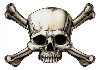 Skull and crossbones drawing
