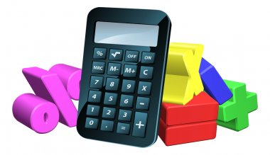 An illustration of a calculator and 3d math symbols clip art vector