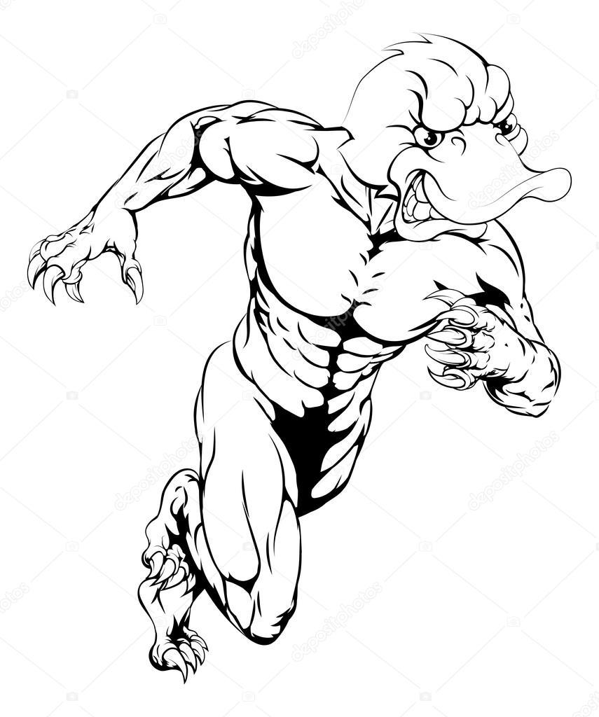 Pato deportes sprinting la mascota — Vector de stock © Krisdog #80530364