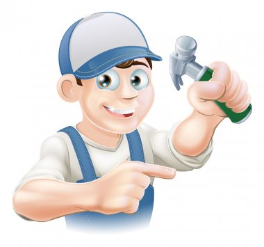 Cartoon Carpenter Pointing