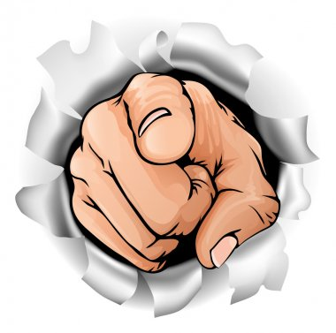 An illustration of a pointing hand breaking through a wall stock vector