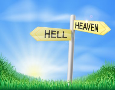 Heaven or Hell decision sign
