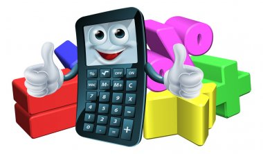 An illustration of a calculator man cartoon charter giving a thumbs up and math symbols clip art vector