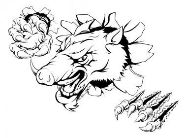 Boar monster smashing through wall