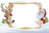 Vánoční Santa a sobů znamení