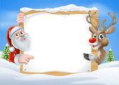 Vánoční soby a Santa znamení