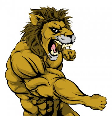 Punching lion mascot