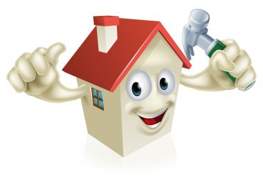 An illustration of a cartoon house character holding a hammer. Concept for home improvement, DIY or similar stock vector