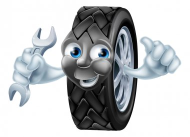 Tyre mascot character with spanner