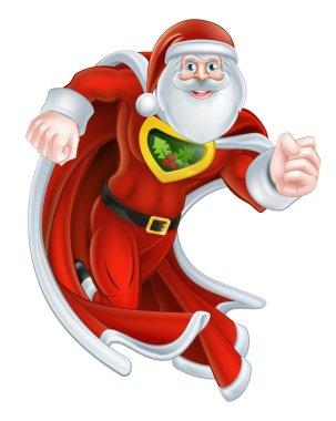 Cartoon Santa Claus Superhero
