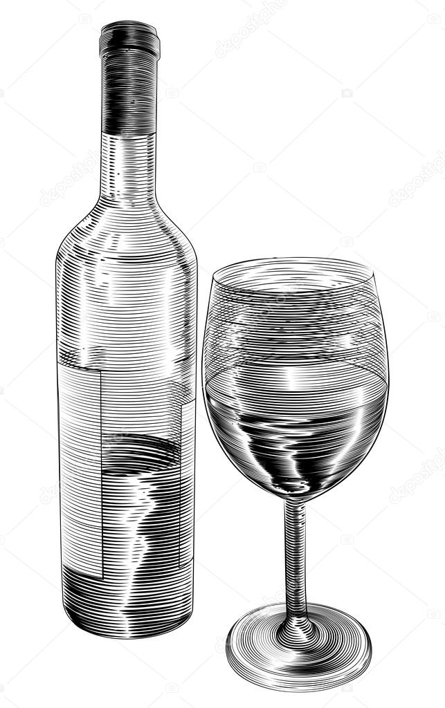 An Original Illustration Of Red Wine Bottle And Glass In A Vintage Woodcut Woodblock Style Vector By Krisdog