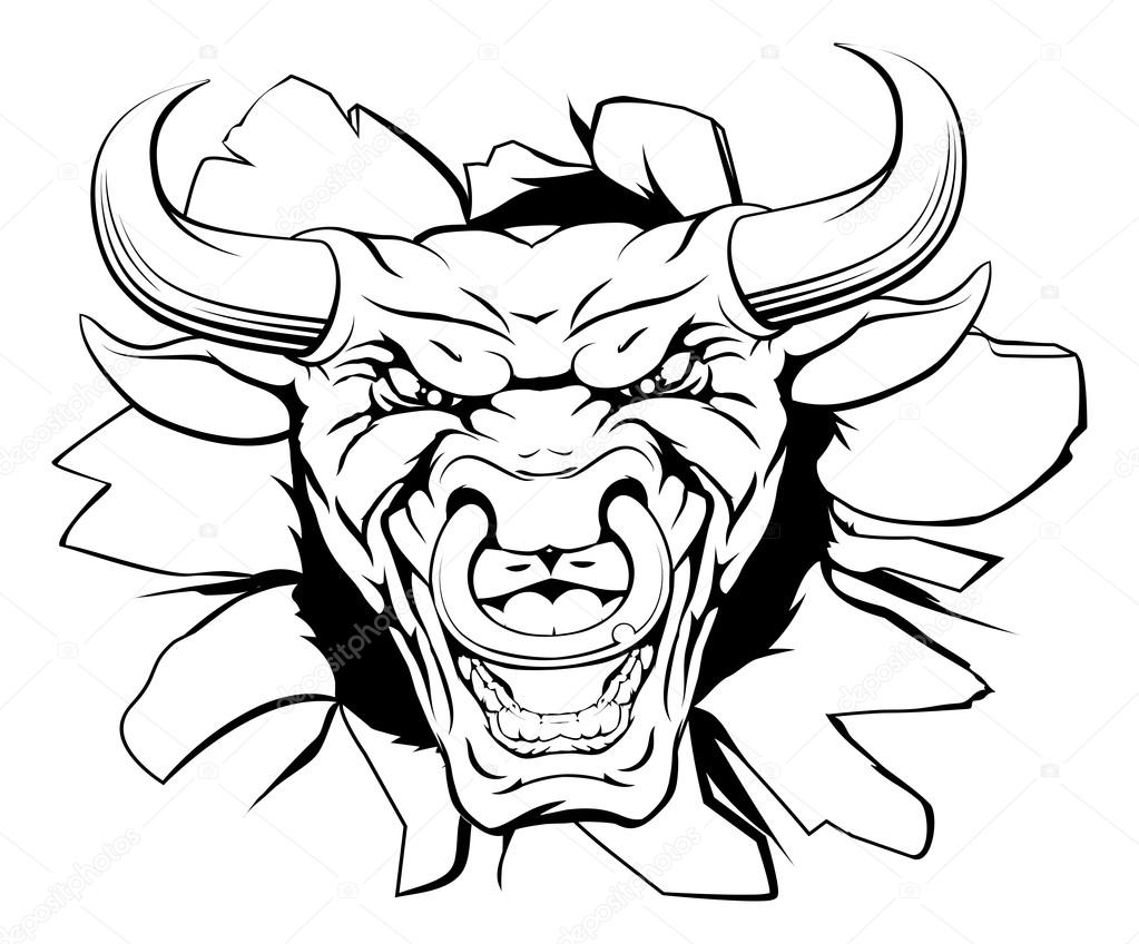 This is an image of Candid Bull Head Drawing