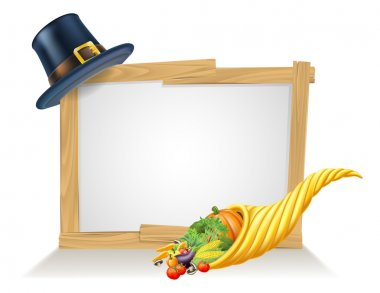 Thanksgiving Pilgrim Hat Cornucopia Sign