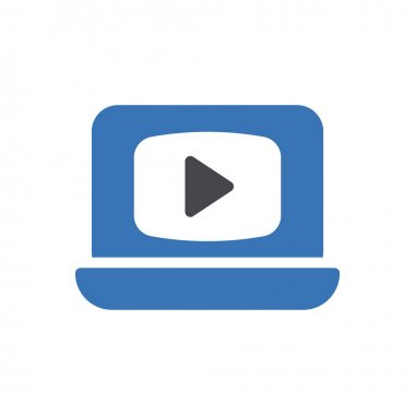 Video player laptop icon for website and Apps design and desktop envelopment, development and Printing. Premium pack. icon