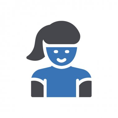 Younger girl  Icon for website design and desktop envelopment, development. premium pack. icon