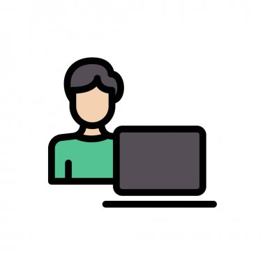 Boy laptop  Icon for website design and desktop envelopment, development. premium pack. icon
