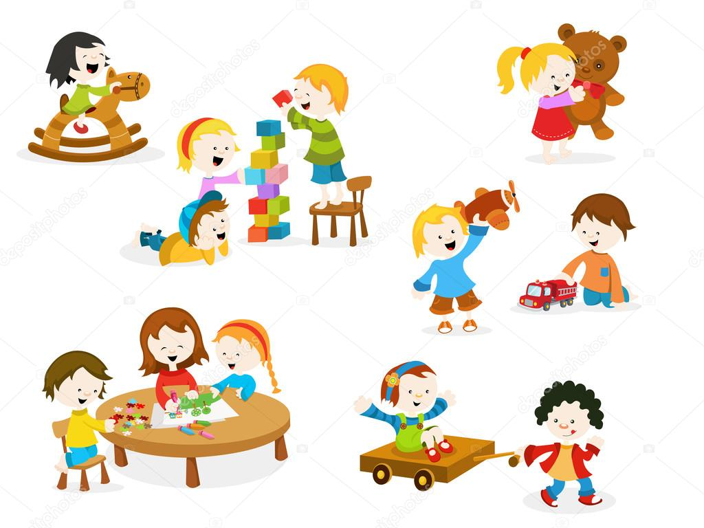 Kids Playing With Toys Stock Vector C Pinarince 102020016