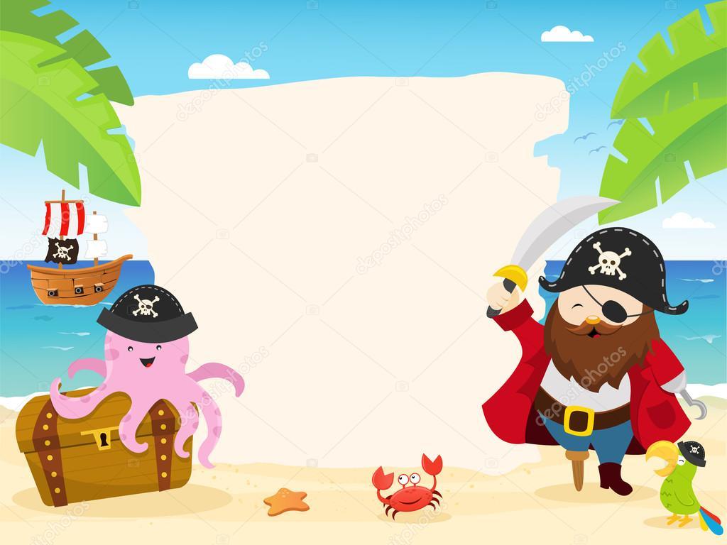 Ilustración de plantilla de pirata — Archivo Imágenes Vectoriales ...