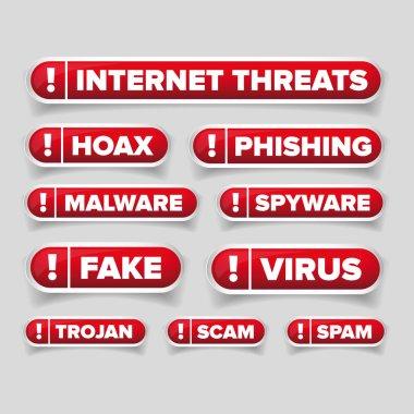Internet threats button set  - Hoax, Spam etc