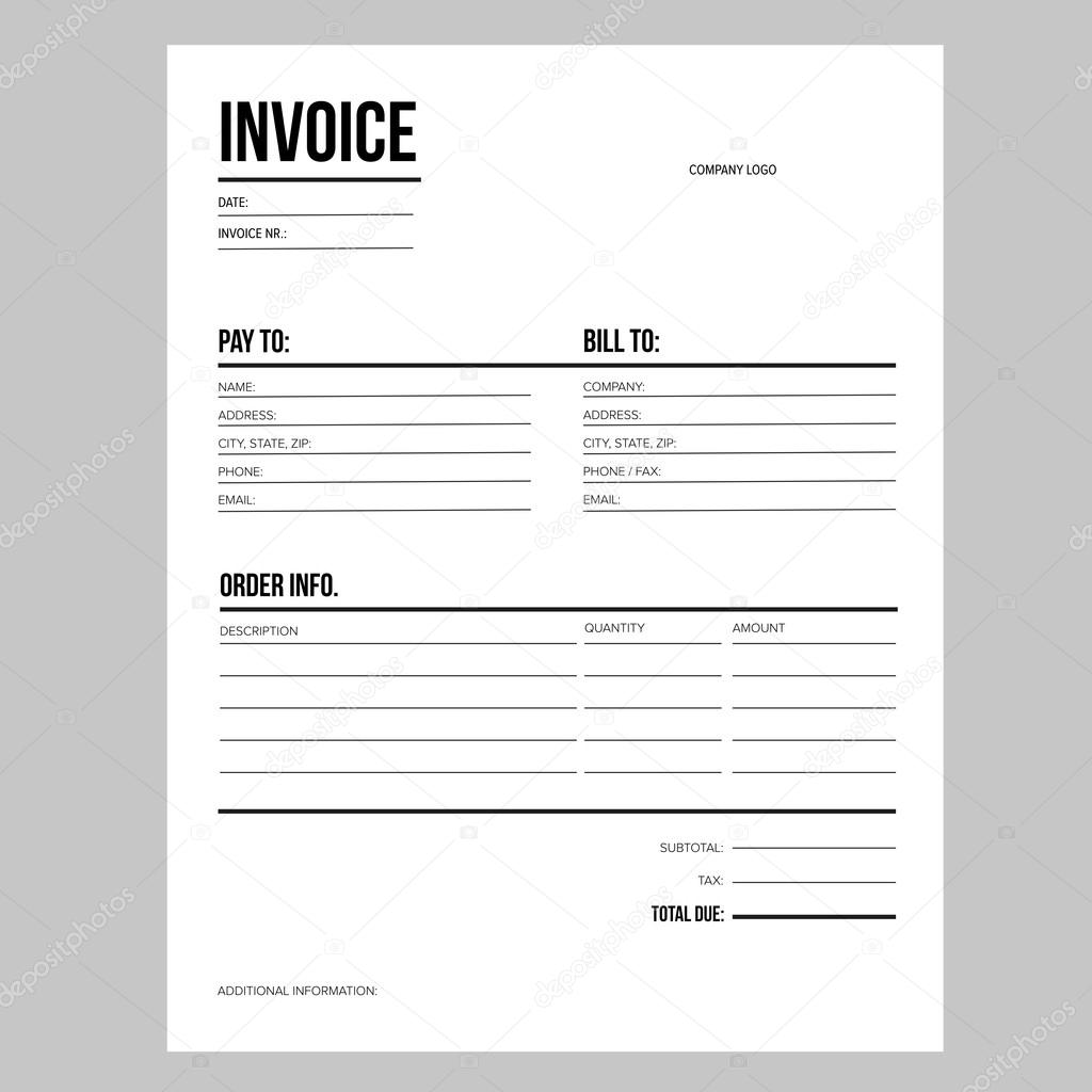 Rechnung / Business-Template - Brief Usa Standardpapier ...