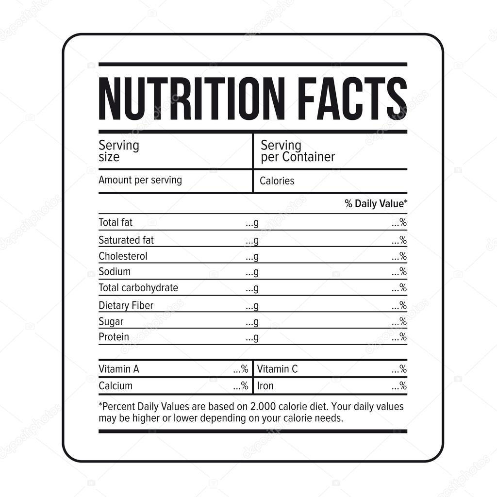 nutrition facts label template vector stock vector grounder
