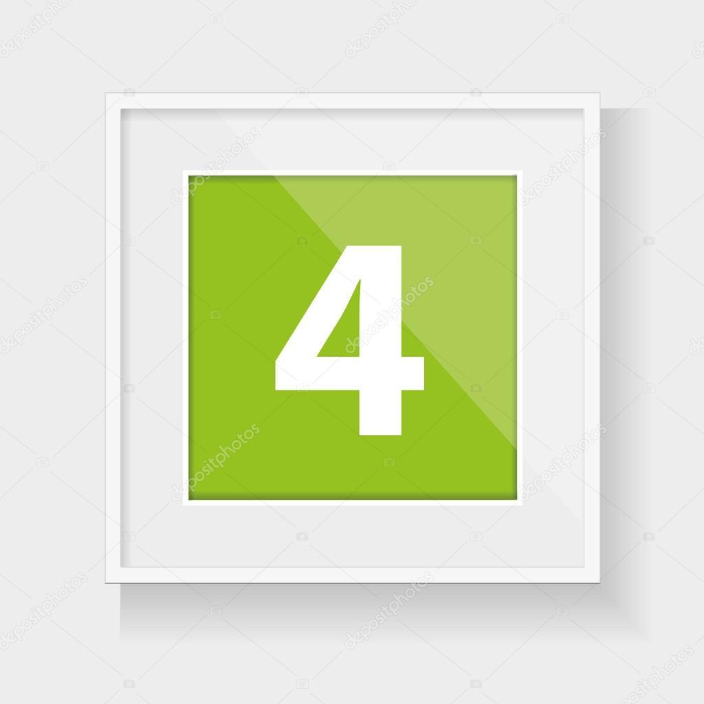 Marco cuadrado con el número cuatro — Vector de stock © Grounder ...