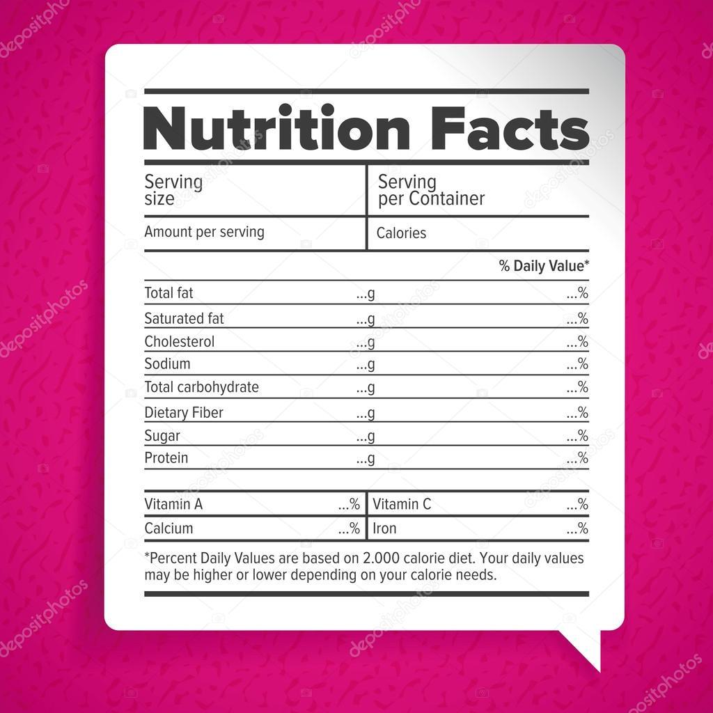 栄養物の事実のラベル文字 — ス...