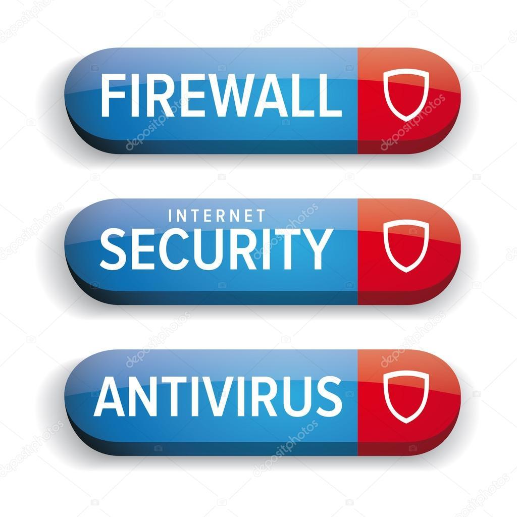 internet security firewall antivirus button vector blue stock