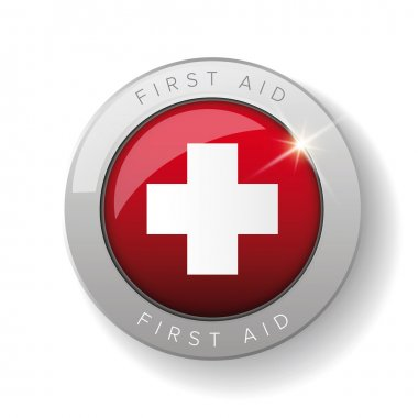 First aid icon vector button