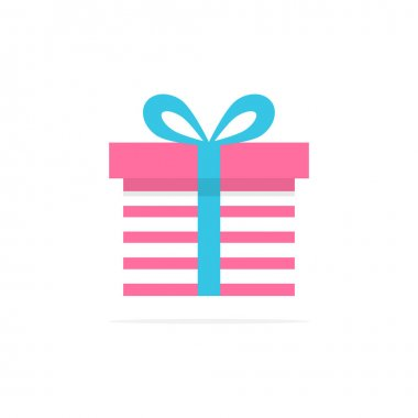 Gift box icon. Holiday concept with cute colorful present box. Vector illustration isolated on white. icon