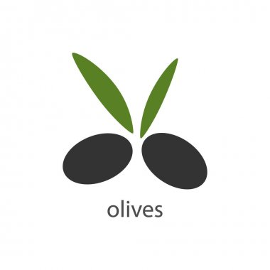 Olives fresh icon. Healthy food tasty symbol. Black olive vector isolated on white. icon