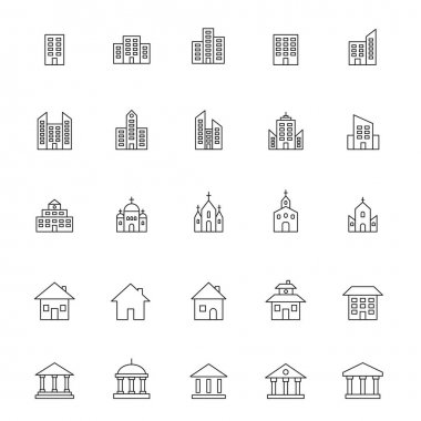 Building line icon set. Building and estate linear symbol collection. Vector isolated on white icon