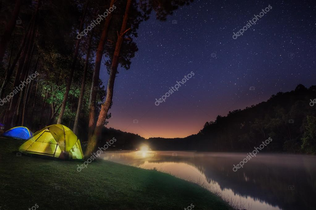 Small Camping Tent Illuminated Inside