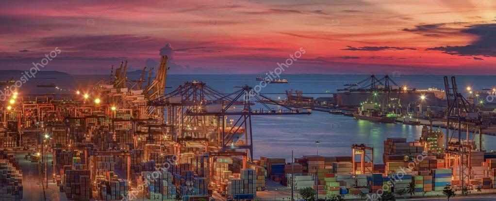 Logistic port with cargo ship