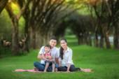 Happy asijská matka, otec a dcera
