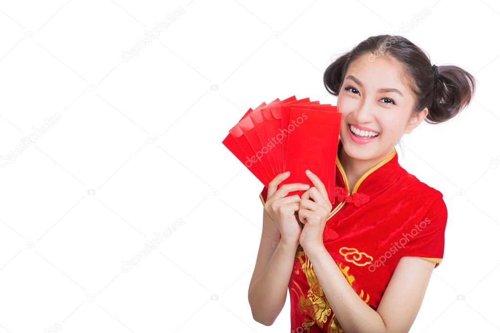 Happy chinese new year. smile asian woman holding red envelope